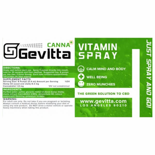 Gevitta CBD Spray Back