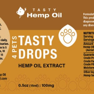 Tasty Hemp Oil 4 Pets Hemp Oil Extract 15ml Label