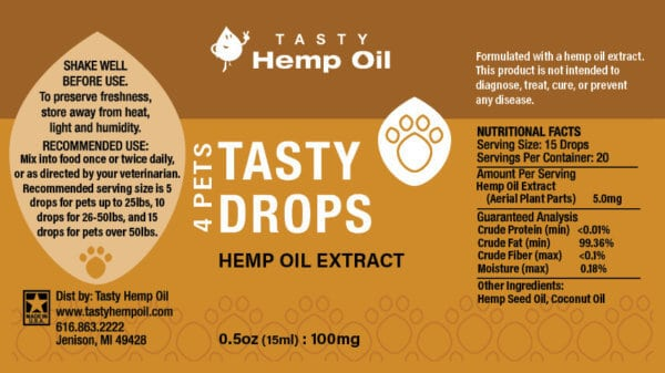 Tasty Hemp Oil 4 Pets Hemp Oil Extract 15ml Label