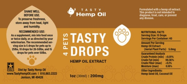 Tasty Drops 4 Pets Hemp Oil Extract 30ml Label