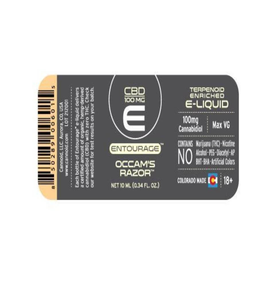 Entourage Occam's Razor E-Liquid 100mg CBD Back