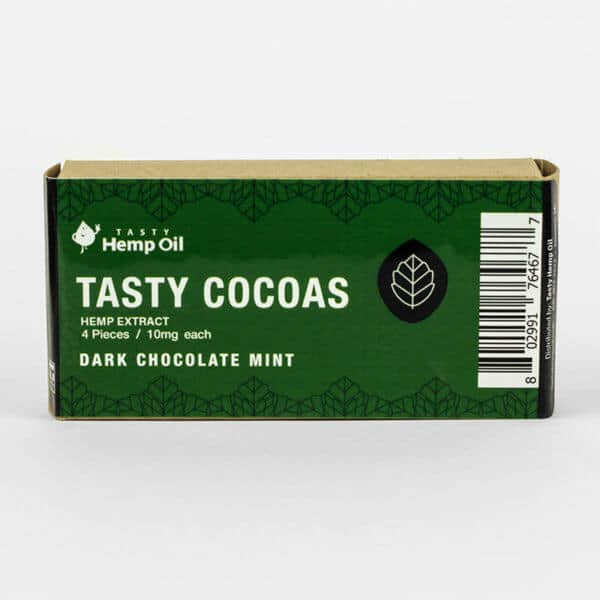 Tasty Hemp Oil Tasty Cocoas CBD Chocolate 4 Pack Dark Chocolate Mint