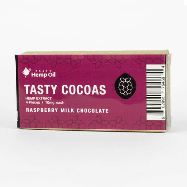 Tasty Hemp Oil Tasty Cocoas CBD Chocolate 4 Pack Raspberry Milk Chocolate