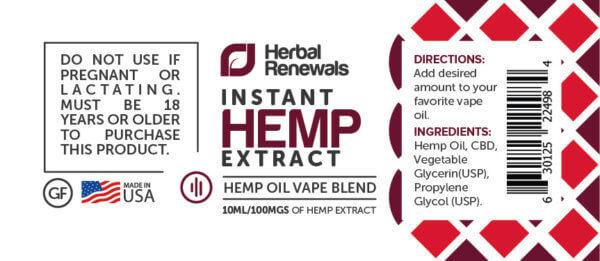 Herbal Renewals Hemp Oil Vape Additive Blend 100mg CBD